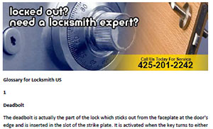 Glossary for Locksmith in Fall City  - Click here to download